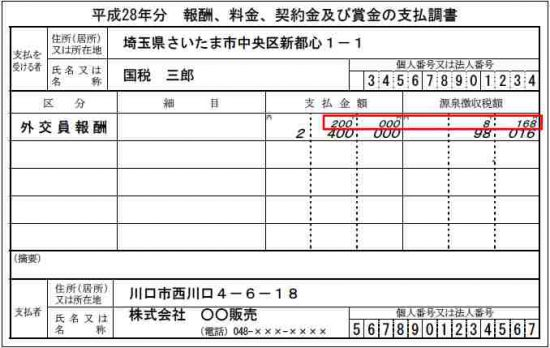 支払調書の金額が2段書きになっている場合の確定申告